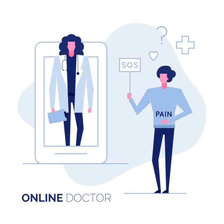 Online doctor consultation support help web service vector illustration,healthcare medicine concept.Doctor character avatar,remote working from app screen of patient display,Ready to use modern flat